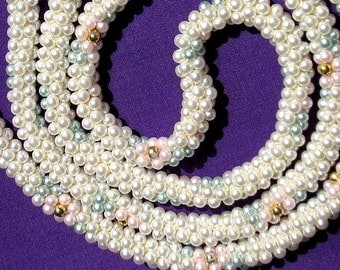 Estate Statement PearLs Vintage Flapper Necklace Wedding Early Hand Woven PasteL Mid Century Marilyn Pink Blue Mod Jewelry Beaded Art Deco