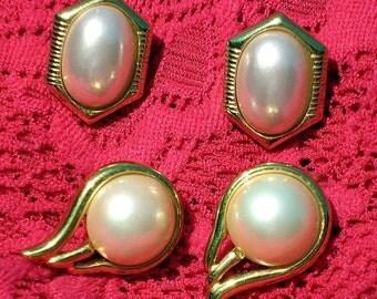 Estate Vintage Jewelry PearLs Earrings Lot 2 Pairs Signed Designer TriFari Wedding Quality Set Wedding Bridal Mad Men Prom Splendid Pierced