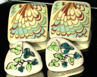 Estate Jewelry Peacock Vintage Earrings Set Lot 2 Feathers Mad Men Mid Century Modern Flowers Italy Signed Designer Ceramic Teal Blue Unique