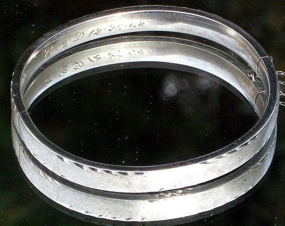 Fine Vintage Sterling Bracelet Estate Jewelry Designer Signed A & Z Bangle Diamond Cut 925 Hinged Cuff Gift Mod 60's 1968 12-25-68 13 grams