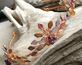 Boho Wedding Tiara Autumn Flame Amethyst and Copper