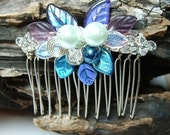 Wedding Hair Comb Moonlight Blue Fairy Bower