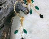 Ear Cuff Forest Fairy Emerald Green Vine Wrap Ear Climber Ear Jacket No Piercing Nickel Free Statement Earrings
