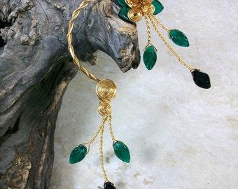 Ear Cuff Forest Fairy Emerald Green Vine Wrap Ear Climber Ear Jacket No Piercing Nickel Free Statement Earrings