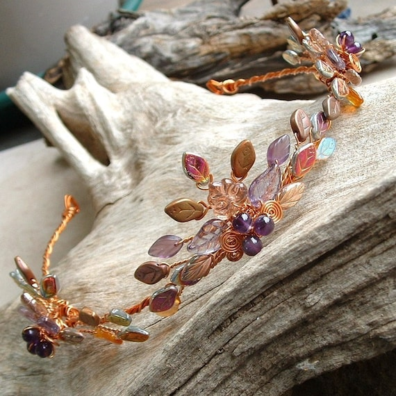 Art Nouveau Tiara Autumn Flame Amethyst and Copper