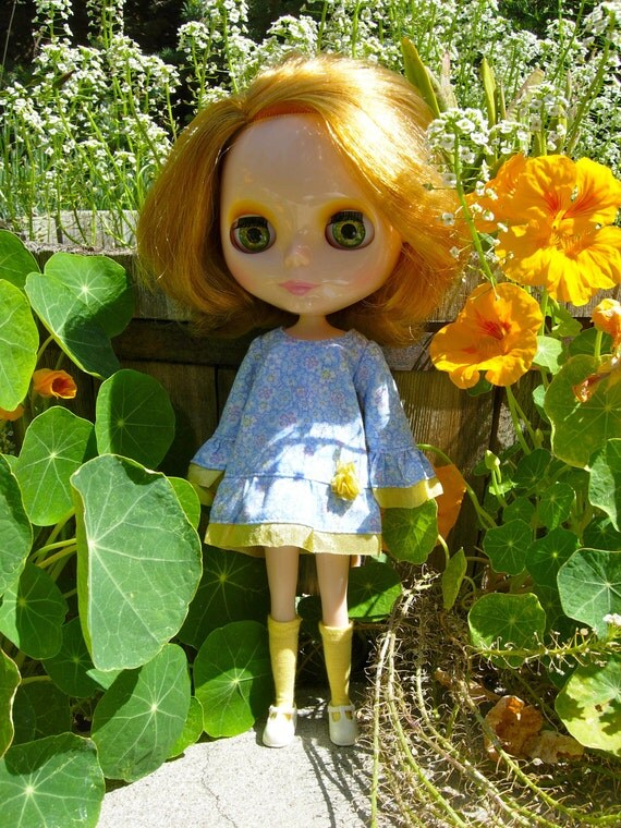 SALE - Pale Blue and Yellow Flowers Bohemian Blythe Dress