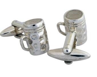 Beer Mug Cufflinks, Sterling Silver, Hancrafted