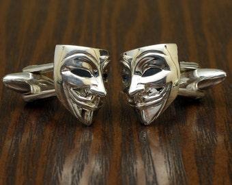 Anonymous Vendetta Cufflinks, Sterling Silver, Handmade