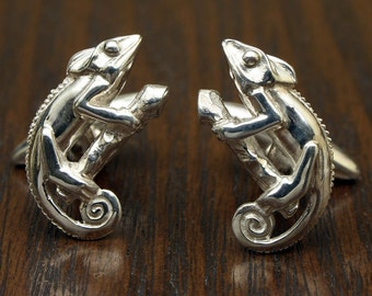 Chameleon Lizard Cufflinks, Sterling Silver, Handcrafted