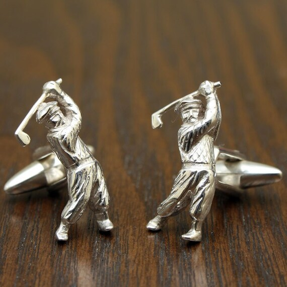 Swing it, Retro Golfer Cufflinks, Sterling Silver, Handmade