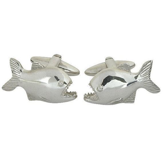 Piranha Cufflinks, Sterling Silver, Handmade