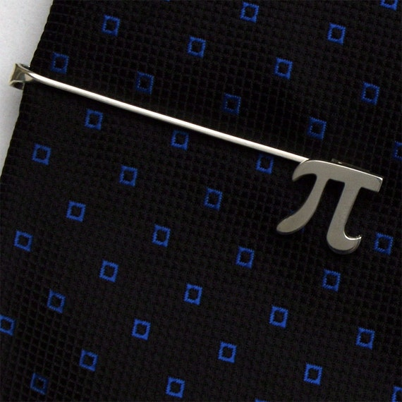 Pi Tie Bar Clip, Sterling Silver, Handcrafted