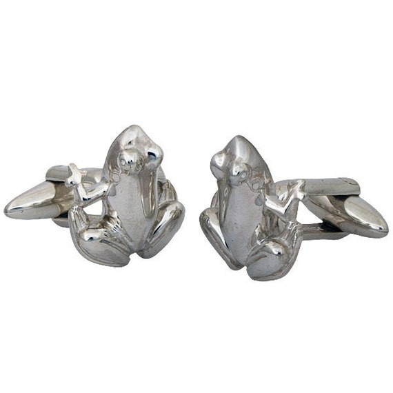 Frog Cufflinks, Sterling Silver, Handcrafted