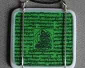 Green Tibetan Prayer Flag Pendant --- Art Glass Pendant