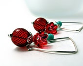 Dangle Earrings-Red Blown Glass w/ Turquoise-Red Earrings-Red Jewelry-Winter Earrings-Turquoise Earrings-Flower Earrings-Winter Jewelry