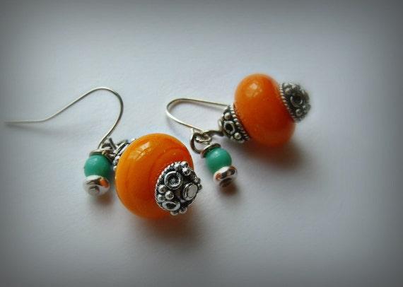 Earrings Artisan Lampwork w/ Genuine Turquoise