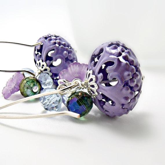 Enameled Metalwork Earrings- Purple Lanters w/ Flower- Purple Earrings-Purple Jewelry- Metal Earrings-Czech Glass-Czech Crystal Earrings