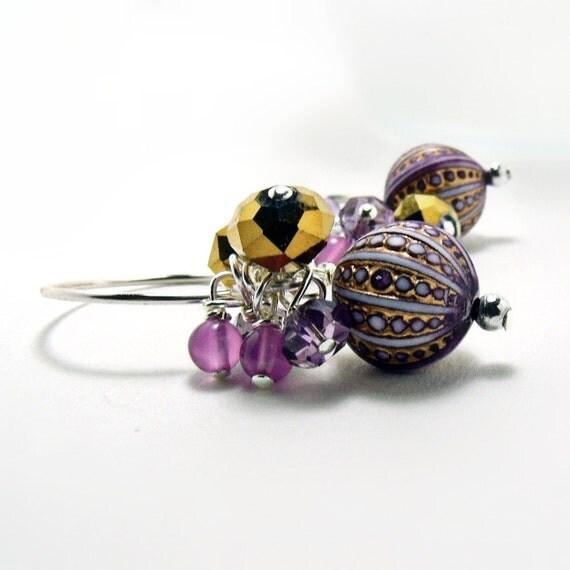 Purple Earrings-Vintage Purple Bead w/Gold- Purple Jewelry-Chalcedony Earrings-Czech Glass Earrings-Winter Earrings-Holid