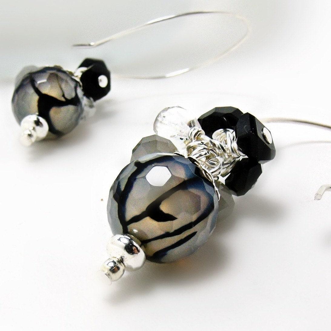 cracked agate earrings w black spinel dragonskin agate