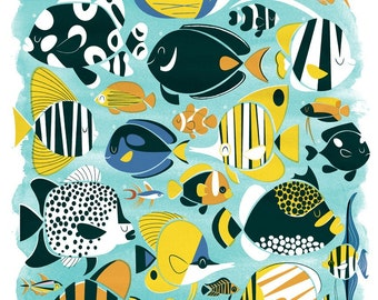 Tropical Fish - A3 Lithographic Print