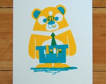 Bee Bear -  A4 Screenprint