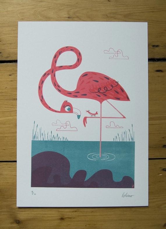 Flamingo friend screenprint - NEW