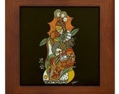 Mother Nature Fall Harvest Modern Art Deco Cubist Tile for Wall or Table by KRISTEN STEIN