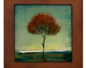 Singular Beauty Glow Tree Framed Ceramic Tile  Modern Minimalist Landscape Art by Kristen Stein