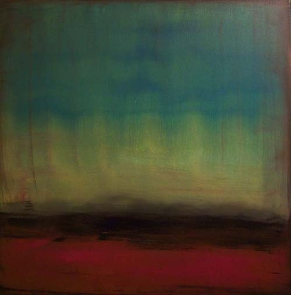 On Exhibit -- Original 24x24 Modern Abstract Landscape Painting by Kristen Stein Free Shipping