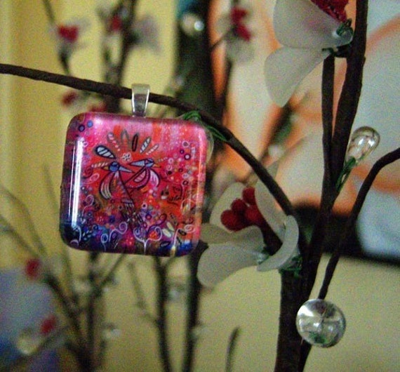 Enchanted Garden Pink Red Whimsical Folk Art Glass Tile Pendant from Original Painting by Kristen Stein FREE SHIPPING