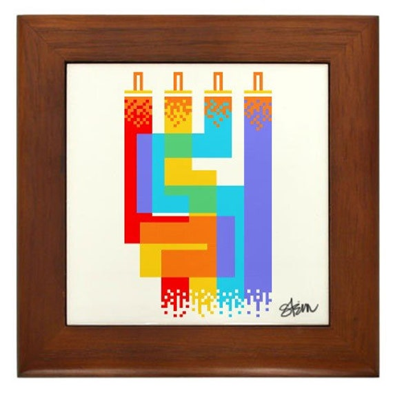 Pixel Art Straight from the Brush Framed Ceramic Tile - Graphic Design Paintbrush Illustration by Kristen Stein  - Bright and fun