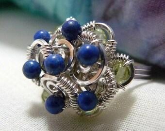 Lapis Lazuli Ring ~ Peridot Ring~ Wire Wrapped Ring~ Sterling Silver Ring~ Lapis Lazuli Cluster Ring ~ Peridot Cluster Ring ~ Size 5 Ring