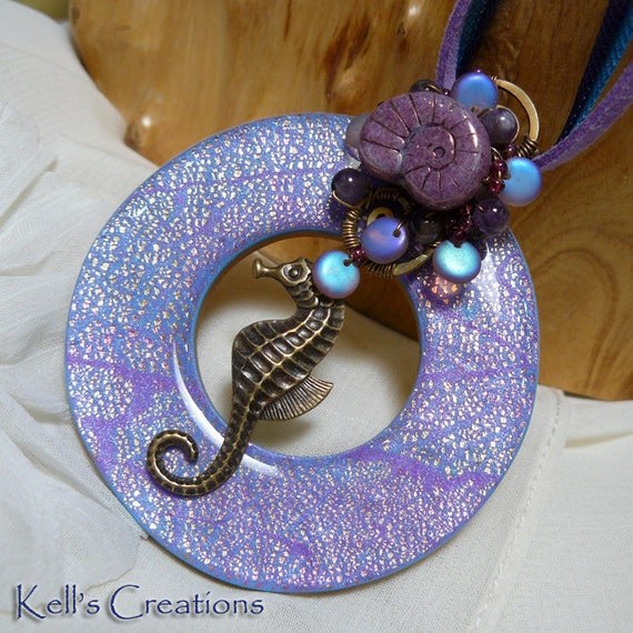 Vintage Brass Seahorse Purple Polymer Clay GoGo Pendant