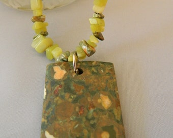 Rhyolite and Olive Jade Necklace