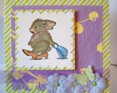 Cute Bunny with a Purse Greeting Card by Cardcrazy