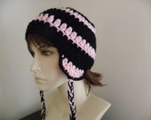 Cute Ear Flap Hat in Pink and Black