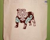 English bulldog tote bag - You pick the fabric and tote handle color