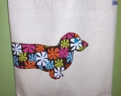 Wiener dog tote bag - You pick the fabric and tote handle color