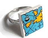Pirate Treasure Map Adjustable Ring :) made with LEGO bricks