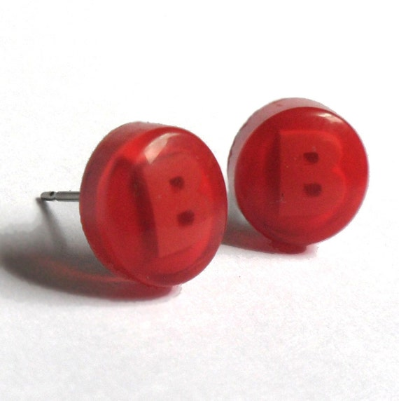 Xbox Controller Red B Stud Earrings