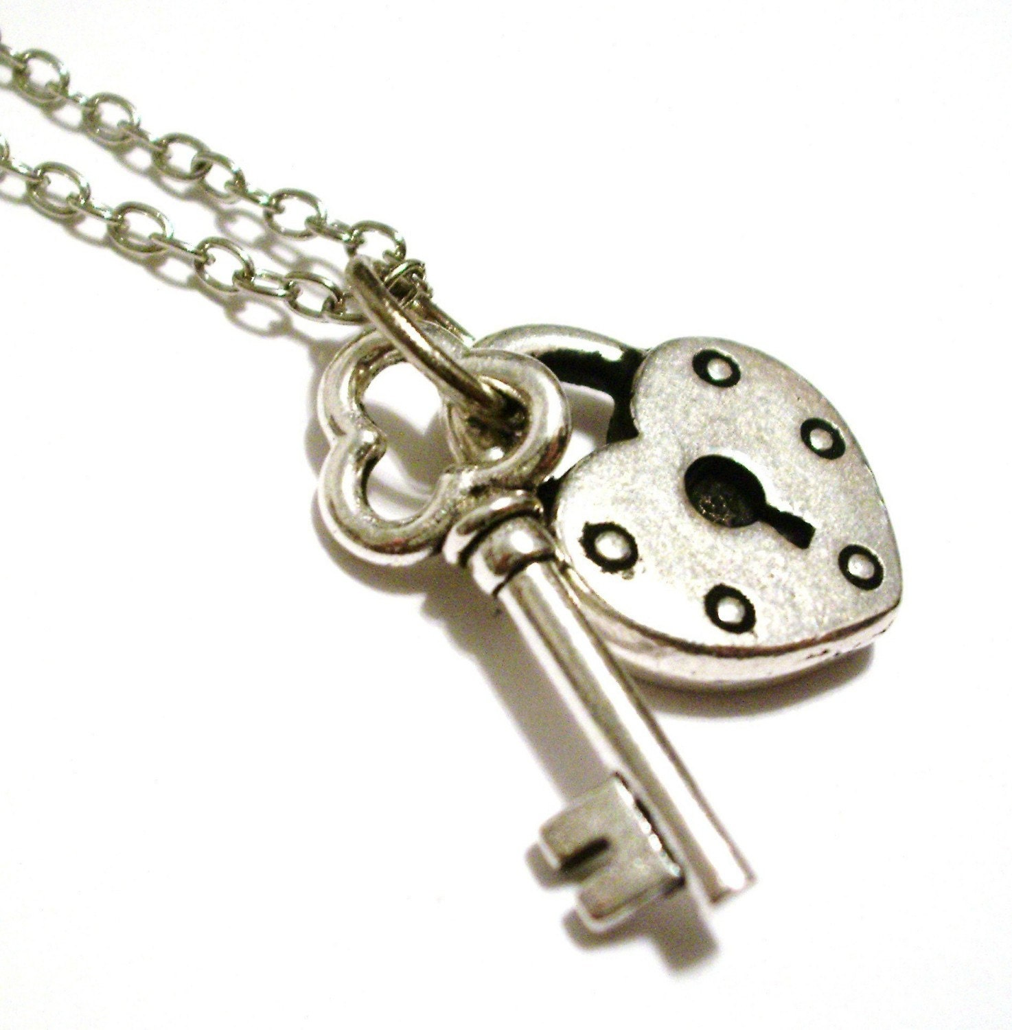 Heart Lock And Key Necklace Free Gift Bag Retro Girls By