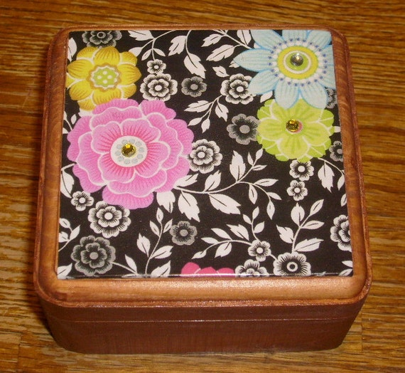 Floral wooden trinket box.....handcrafted and decoupaged