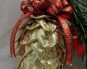 Quilted Ornament Pinecone Sparkling Gold Christmas or Fall Decor Original Design