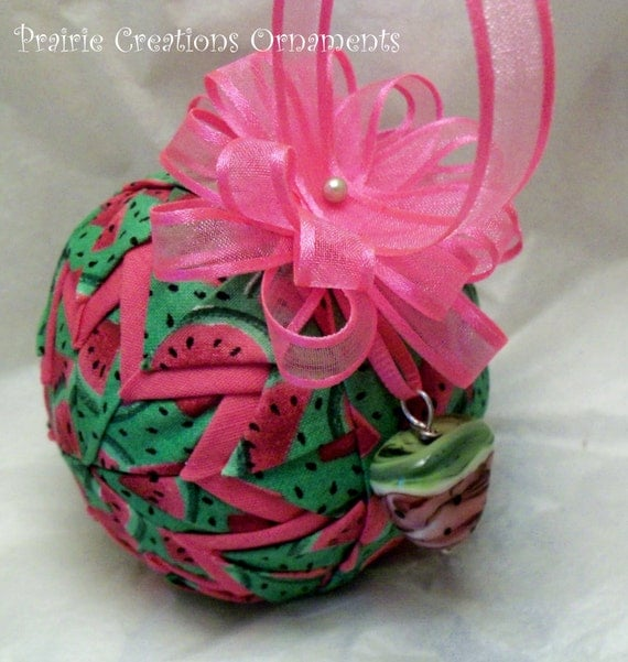 Juicy Sweet Watermelon Handmade Quilted Fabric Ornament Lampwork Bead