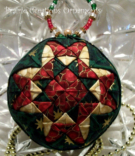 Christmas Patchwork Quilted Ball Ornament