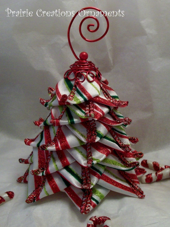 quilted ornament candy stripe ribbon tree christmas decor