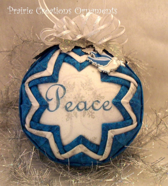 RESERVED for Nastase69 Peace Quilted Handmade Dove Quilted Ornament