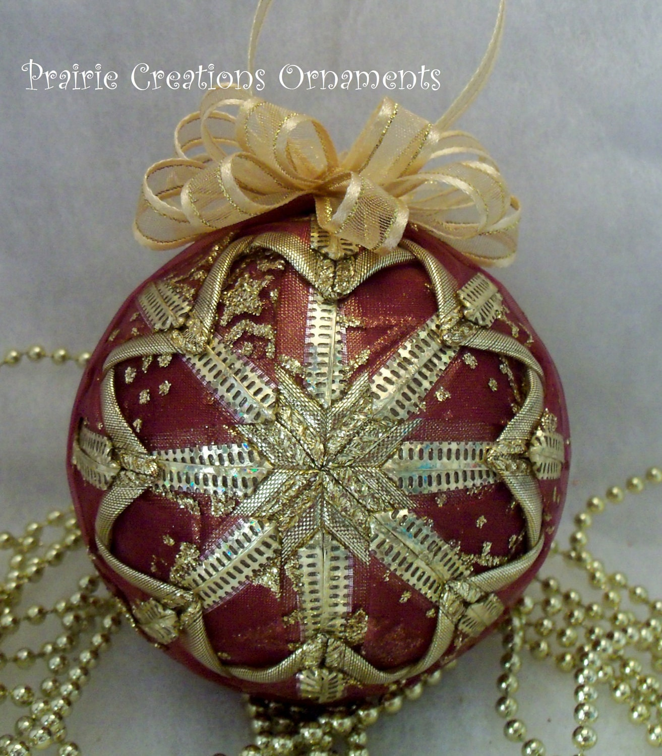 Burgundy and Gold Quilted Christmas Ball Ornament