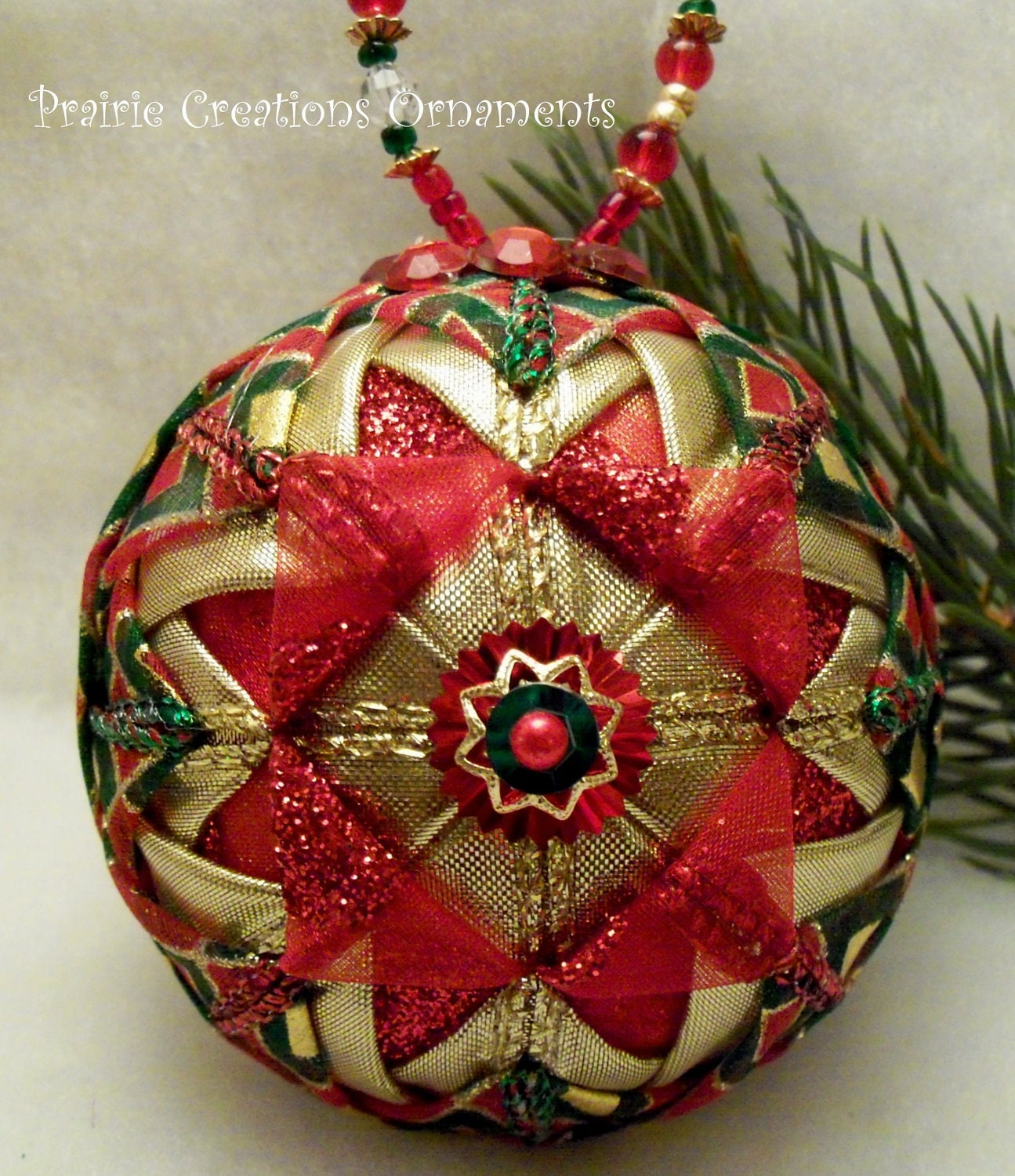 Red And Gold Folded Ribbon Quilted Christmas Ball Ornament