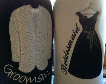 Bridesmaid and Groomsman embroidered Long Neck Bottle insulators